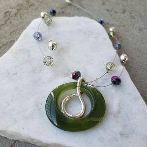 """♡ 10"""" metal wired necklace with green pendant"""